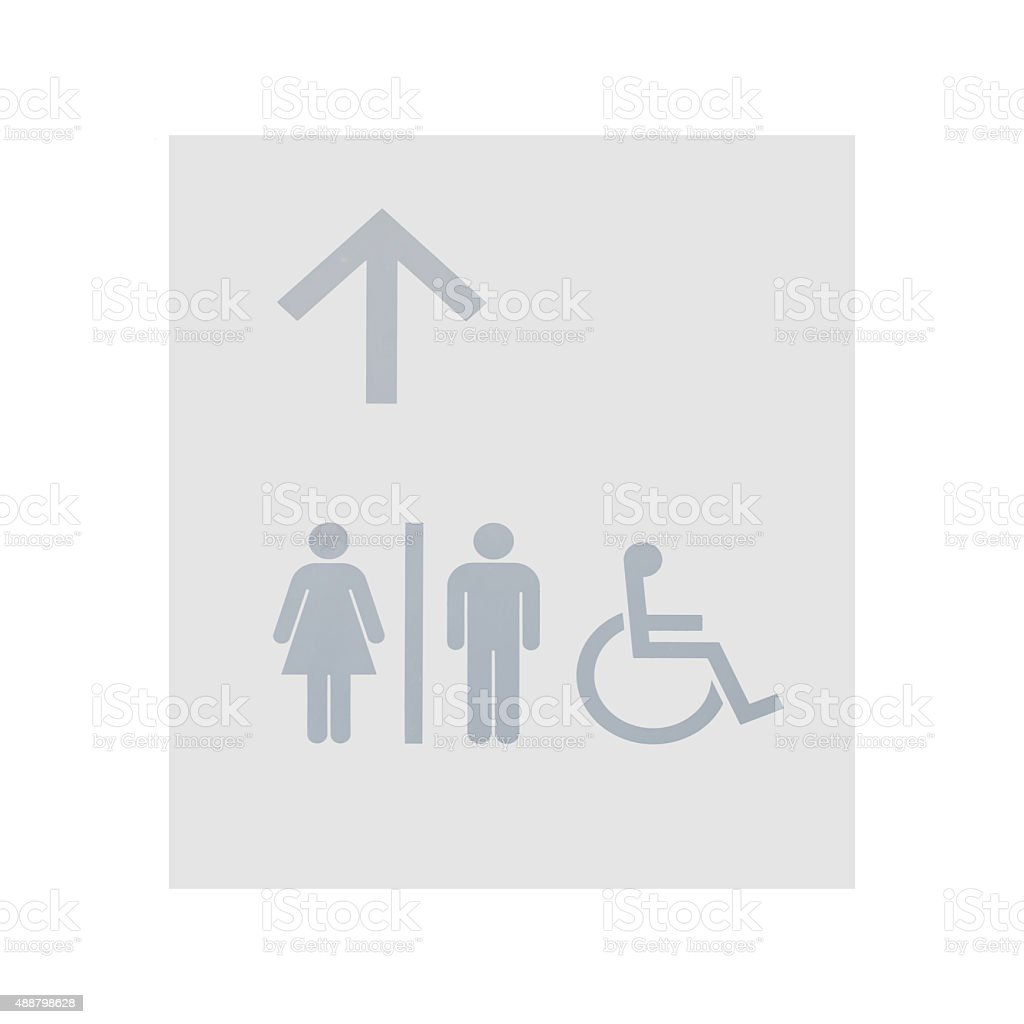 Grey restroom sign on white wall background stock photo
