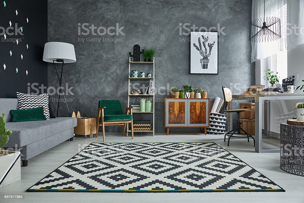 Grey room with pattern carpet stock photo
