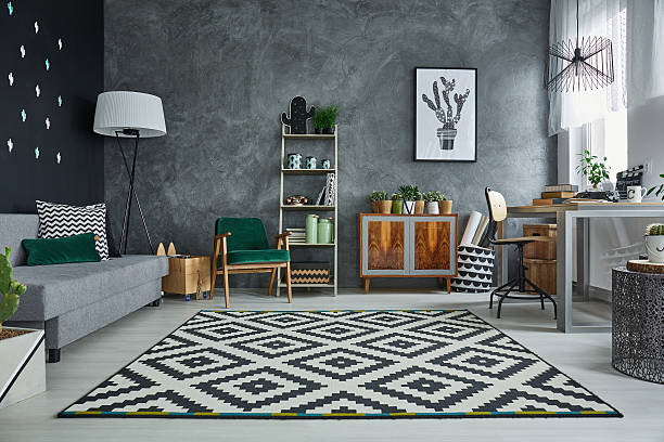Grey room with pattern carpet – Foto