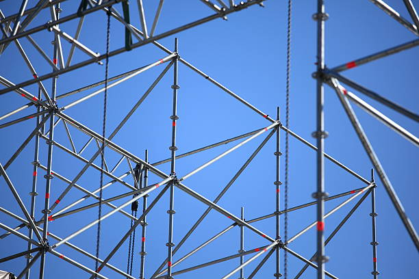 Grey scaffolding waiting for concert lighting to be added Detail of scaffolding on a rock concert stage scaffolding stock pictures, royalty-free photos & images