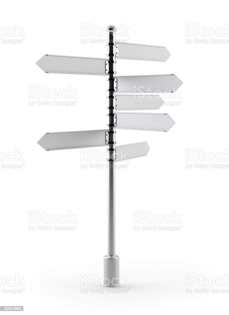 Grey Signpost on white royalty-free stock photo
