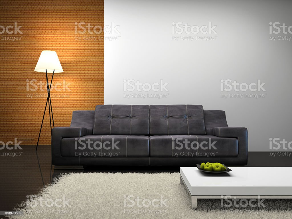 Grey Sofa In A Modern Living Room With Mixed Wallpaper Stock