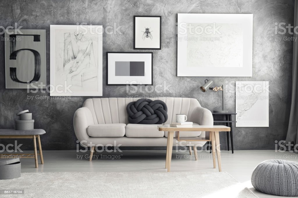 Grey Sofa In Living Room Stock Photo Download Image Now Istock