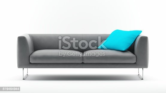 Grey Sofa with Pillow isolated on White