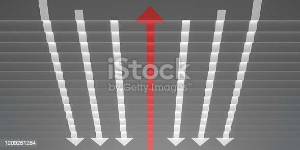 182237699 istock photo grey stairs with arrow sign in opposite direction 3d render 1209261284