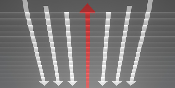 1062884120 istock photo grey stairs with arrow sign in opposite direction 3d render 1209261284