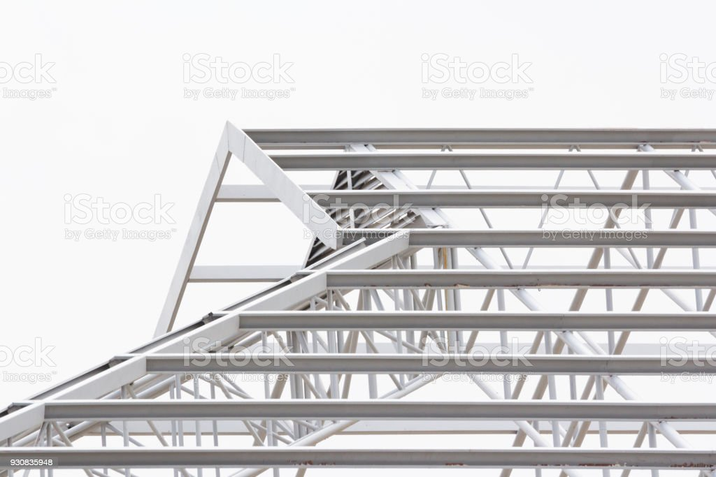 grey steel structure of roof, unfinished roof on white background stock photo