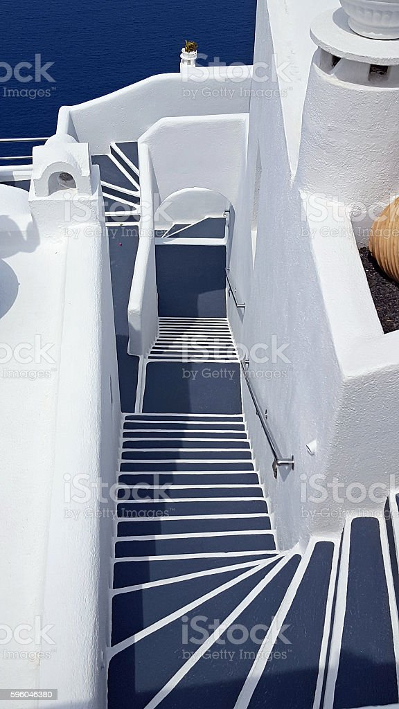 Grey steps in Oia, Santorini royalty-free stock photo