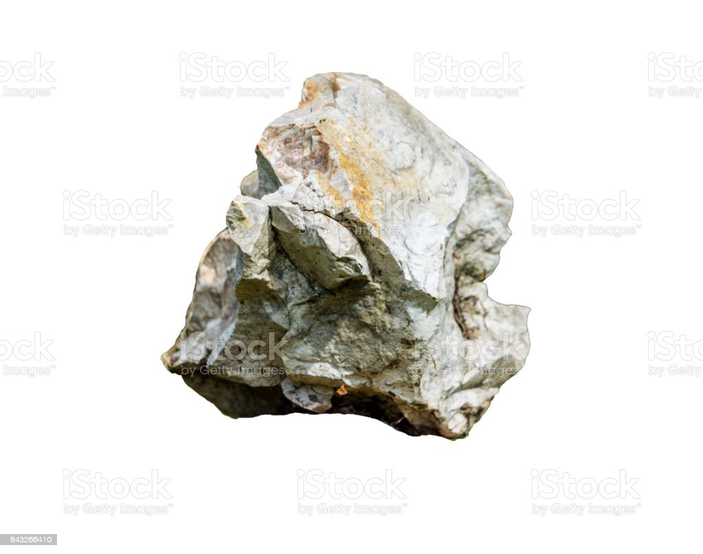 grey stone mineral isolated on white background stock photo