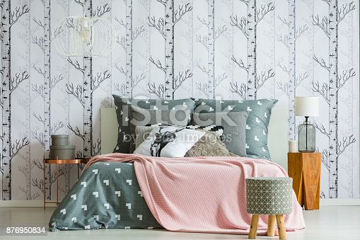 istock Grey stool in bedroom interior 876950834