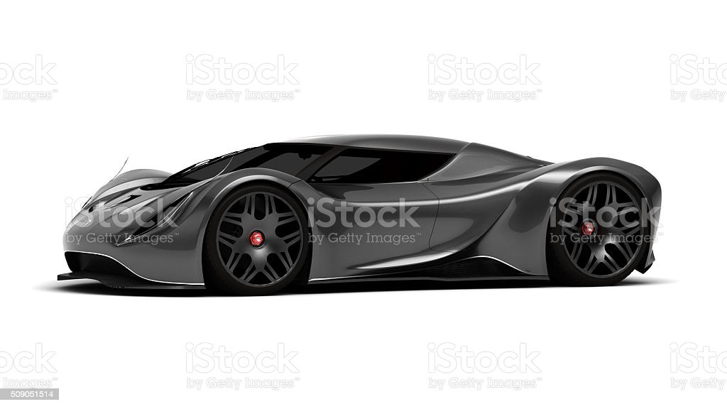 Grey Supercar Front View stock photo