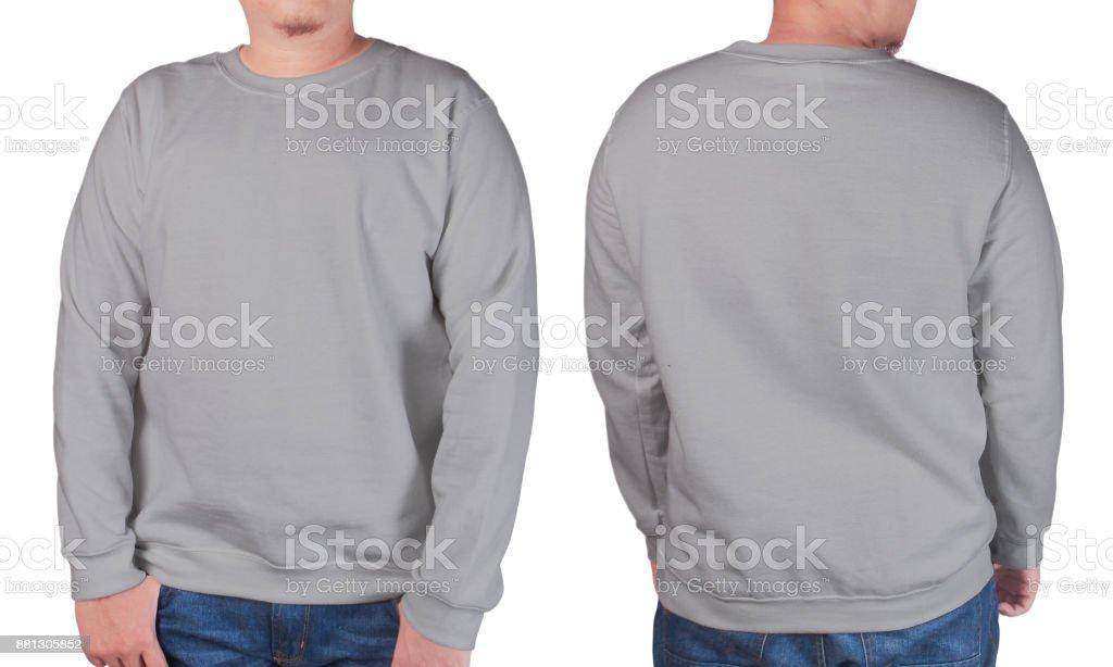 timeless design 6beb3 eac1e Grauer Pullover Langarm Shirt Mockup Vorlage Stockfoto und ...