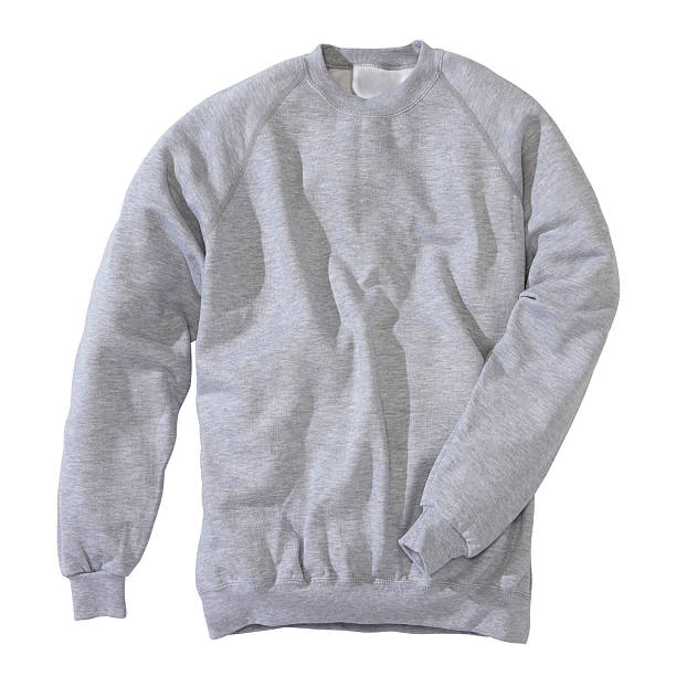 Grey sweatshirt on white background Studio shot vertical long sleeved stock pictures, royalty-free photos & images