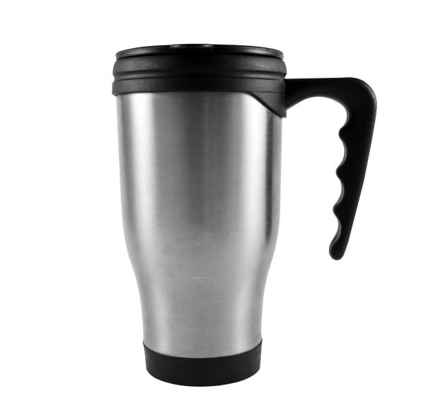 grey thermos cup on the white - flask stock photos and pictures
