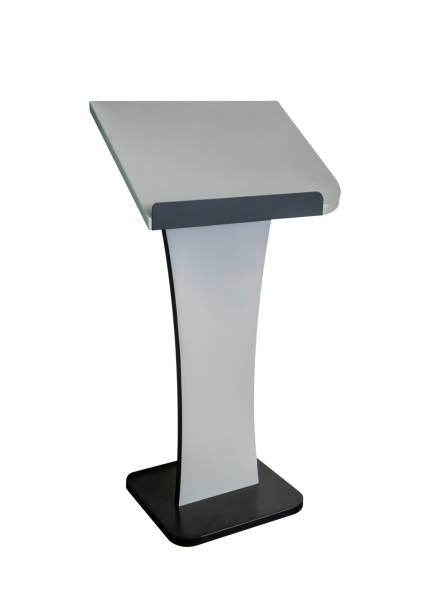 Grey tribune or Podium Rostrum Stand. Business Presentation or Conference, Debate Speech Isolated on white background. Path selection Grey tribune or Podium Rostrum Stand. Business Presentation or Conference, Debate Speech Isolated on white background. Path selection pulpit stock pictures, royalty-free photos & images