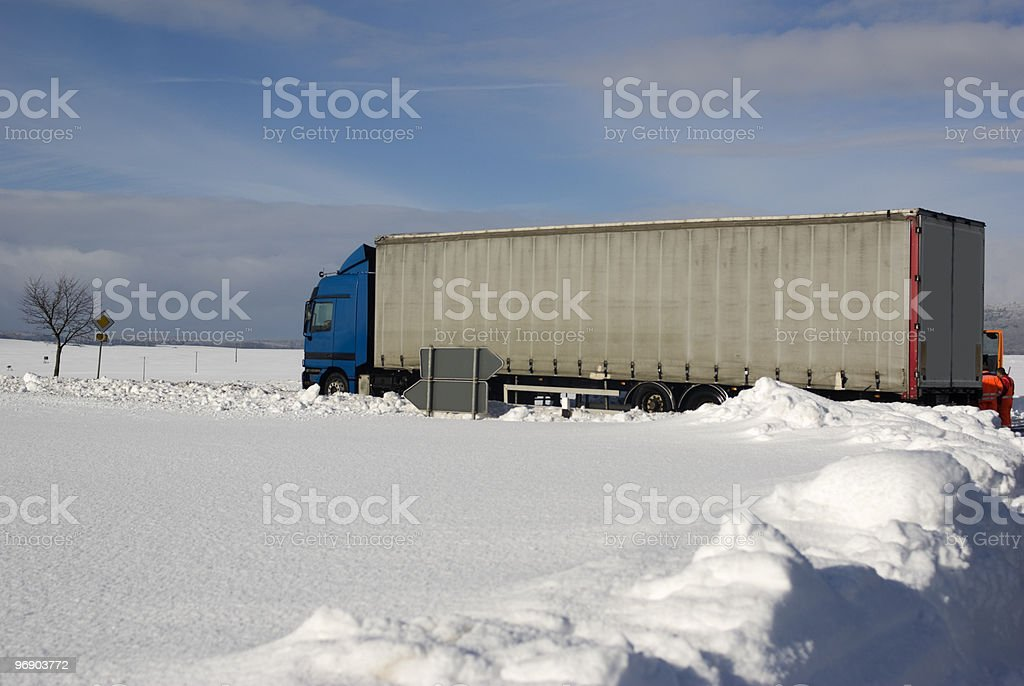 Grey truck on the Federal road in Winter royalty-free stock photo