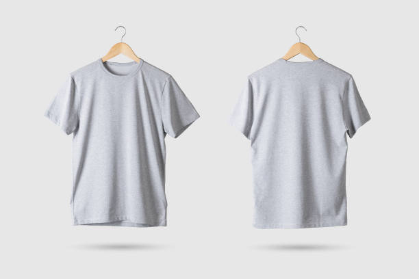 Grey T-Shirt Mock-up on wooden hanger, front and rear side view. Grey T-Shirt Mock-up on wooden hanger, front and rear side view. 3D Rendering. tank top stock pictures, royalty-free photos & images