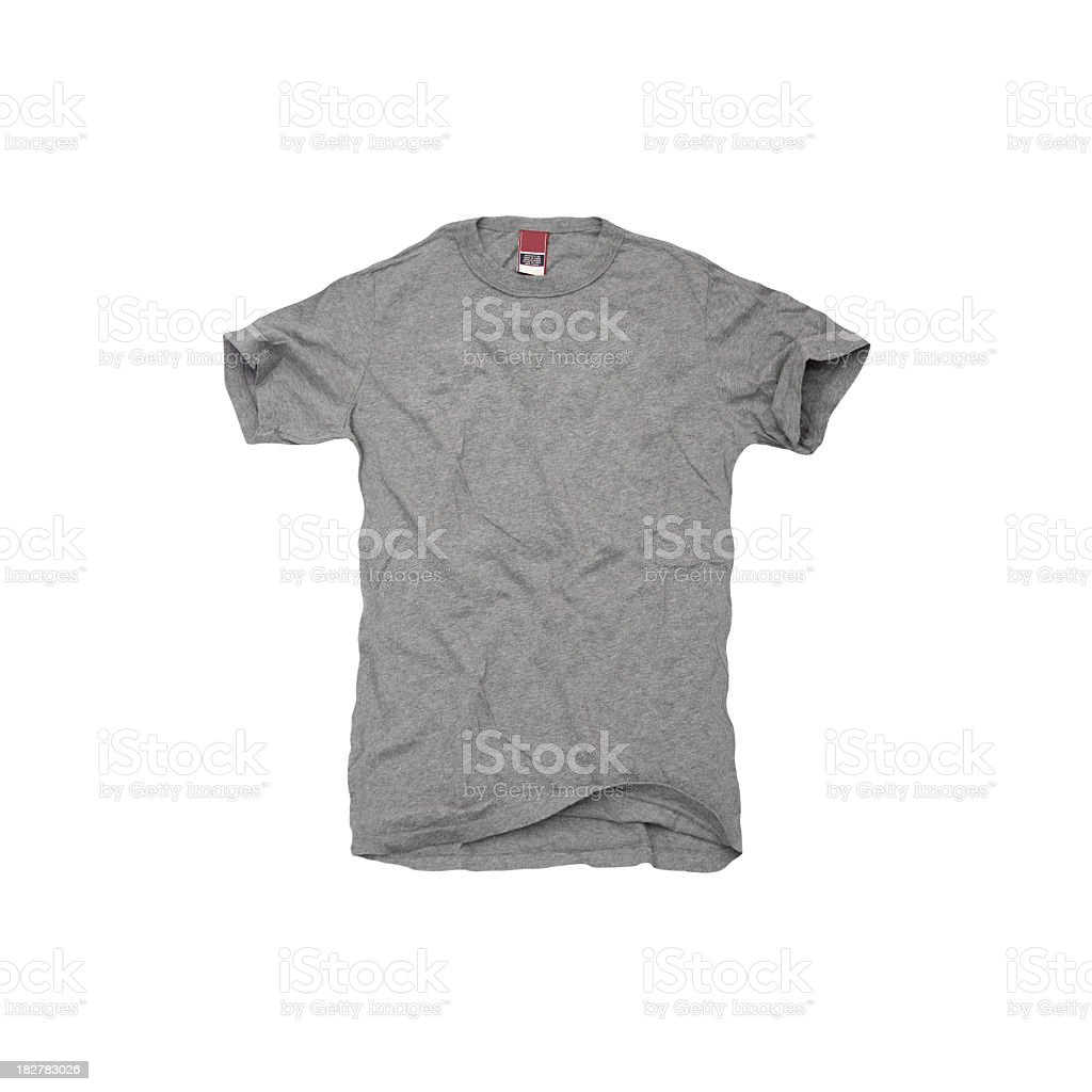 A grey t-shirt on white background A blank grey tee shirt isolated on a white background. Blank Stock Photo