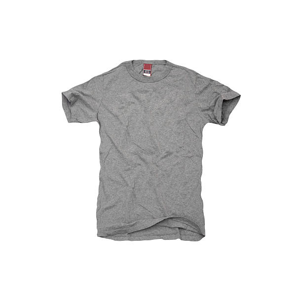 a grey t-shirt on white background - t shirt stock photos and pictures
