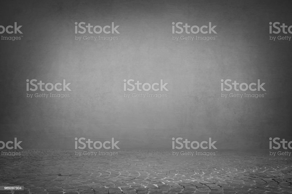 grey wall background with pavement floor zbiór zdjęć royalty-free