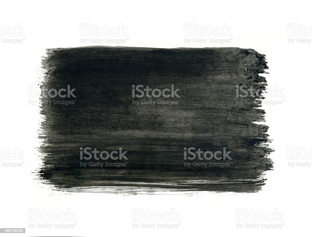 Grey watercolor frame, black rectangle on white background. stock photo