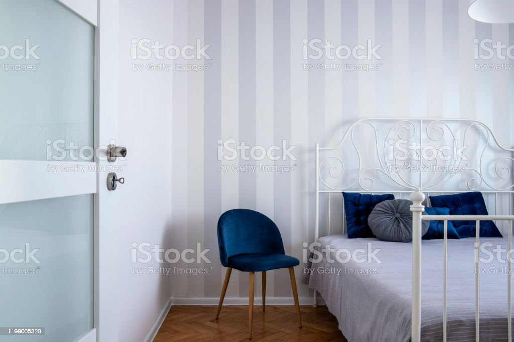 Grey White And Blue Design Of Trendy Bedroom Interior With King Size Bed Stock Photo Download Image Now Istock