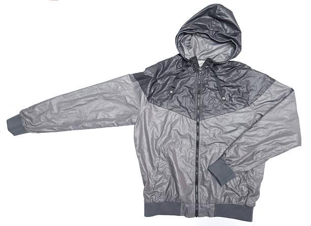 graue wasserfeste kapuzen-windjacke jacke mit durchgehendem reißverschluss - zip hoodies stock-fotos und bilder