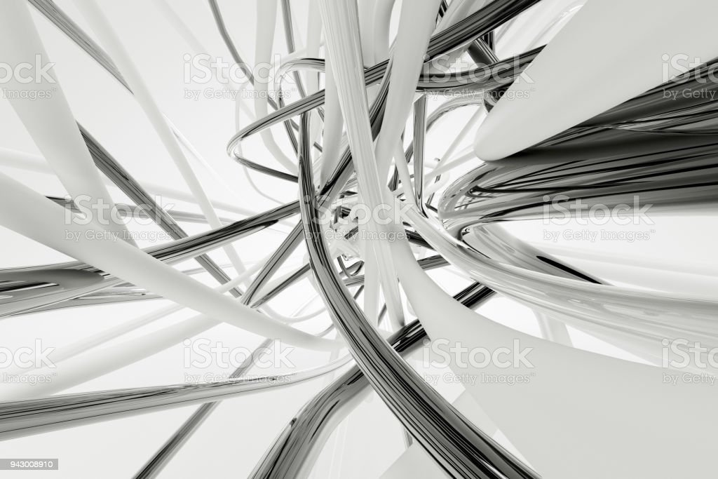 Grey wires on the white background. 3d rendering. stock photo