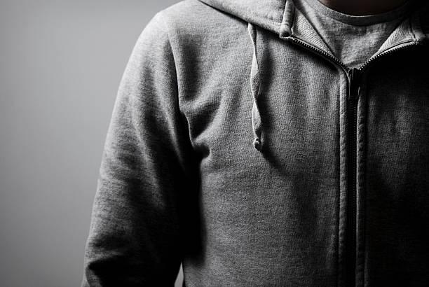 Grey Zip Hoodie stock photo