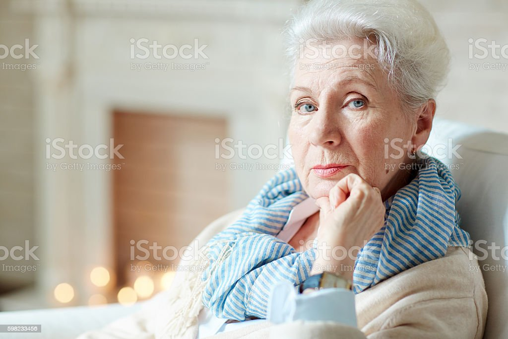 Grey-haired female foto royalty-free