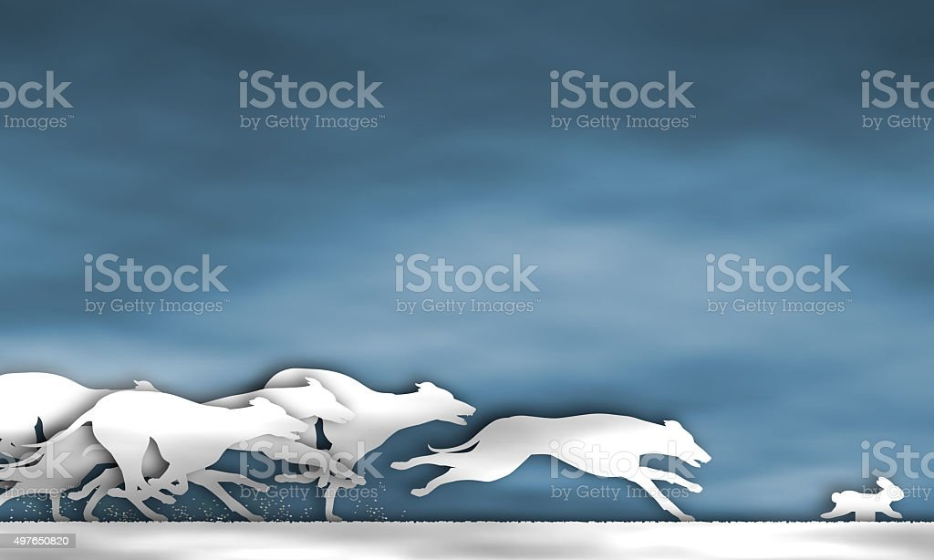 Greyhound race cutout stock photo