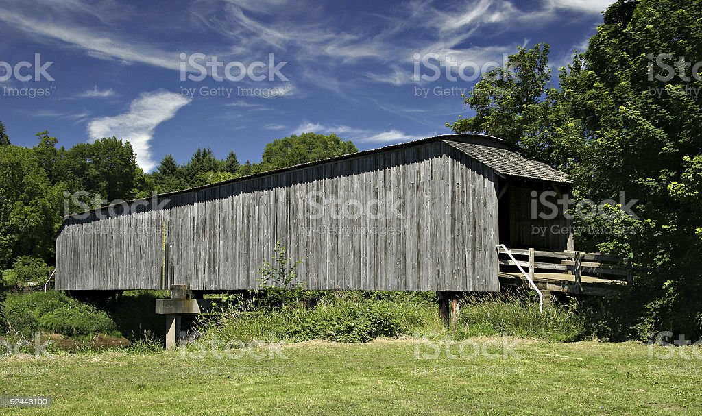 Grey's Covered Wooden Bridge - Washington State stock photo