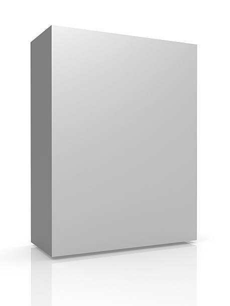 Greyscale tall container on white background with reflection stock photo