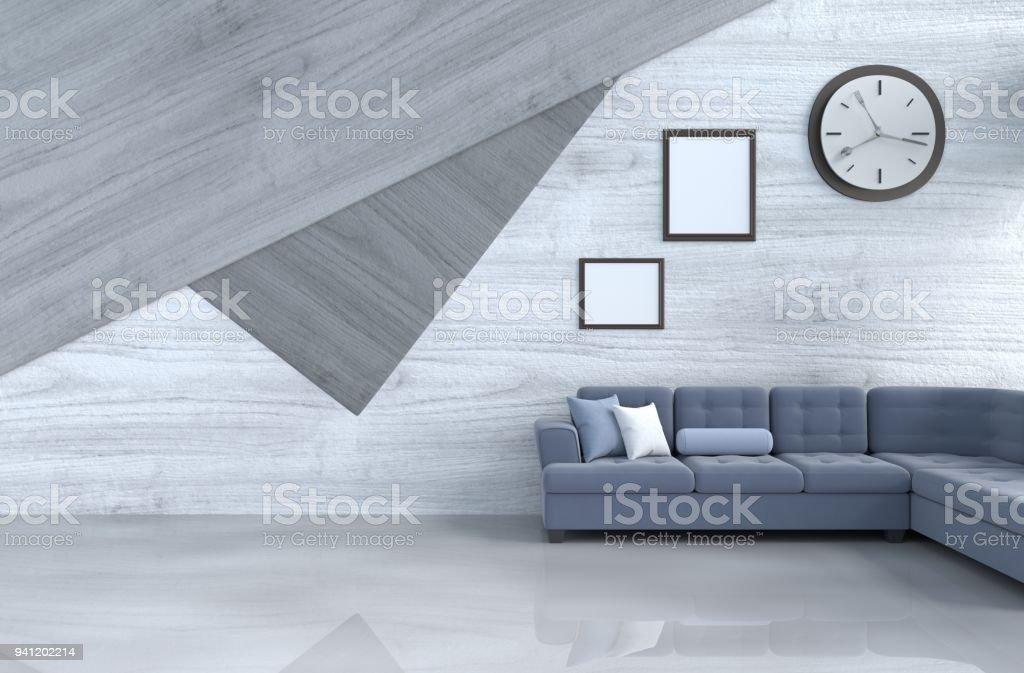 Grauweiß Wohnzimmer Dekor Mit Blauem Sofa Wanduhr Weiße Holz ...