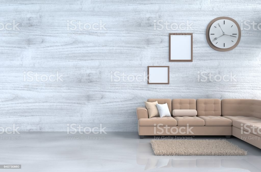 Greywhite Living Room Decor With Brown Sofa Wall Clock White Wood Wall Windowbookpillow Grey White Cement Floor Picture Frame The Sun Shines Through The Window Into The Shadows 3d Rendering Stock Photo