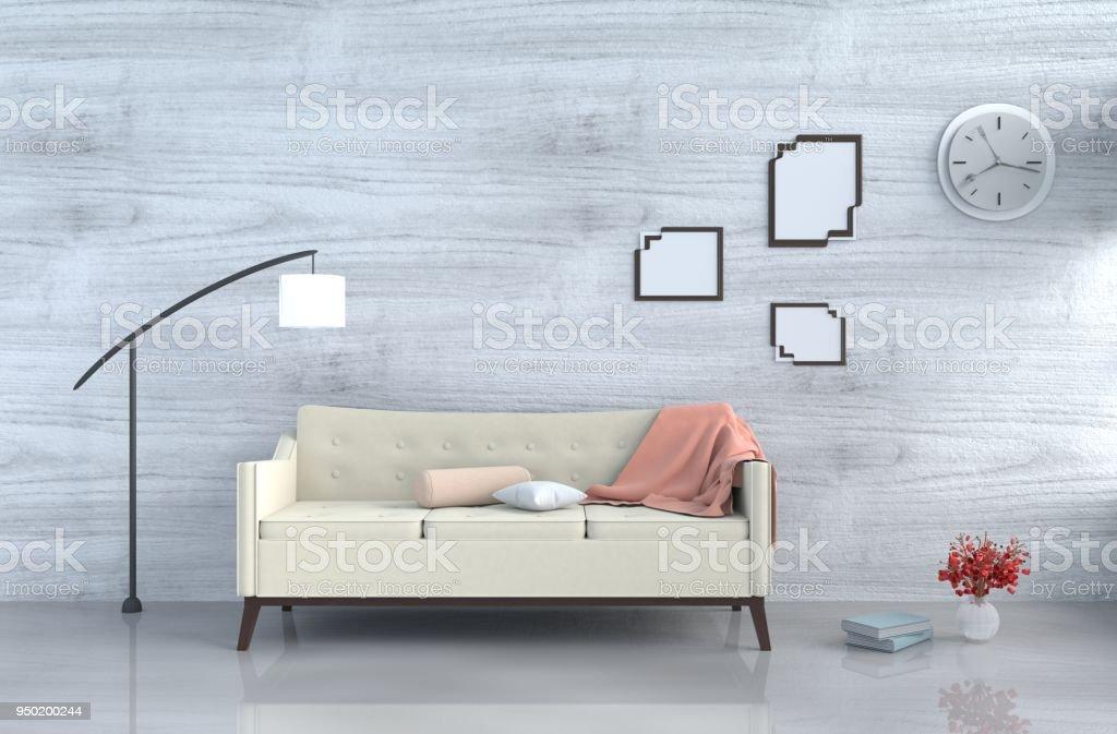 Grauweiß Wohnzimmer Dekor Mit Sahne Sofa Wanduhr Weiße Holz Wand ...