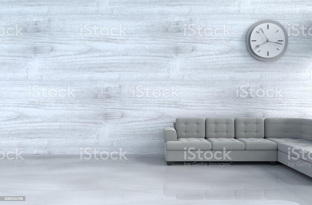 Grauweiß Wohnzimmer Dekor Mit Grauen Sofa Wanduhr Weiße Holz ...