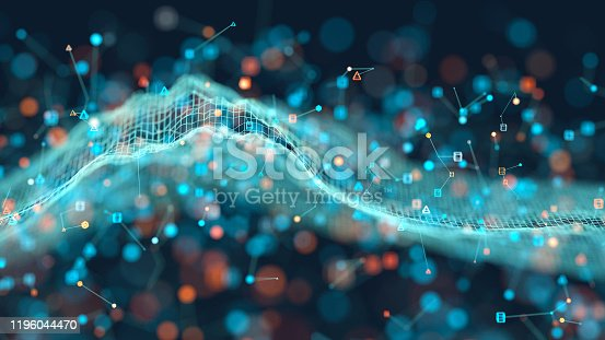 Abstract background of glowing particles on a wire mesh landscape
