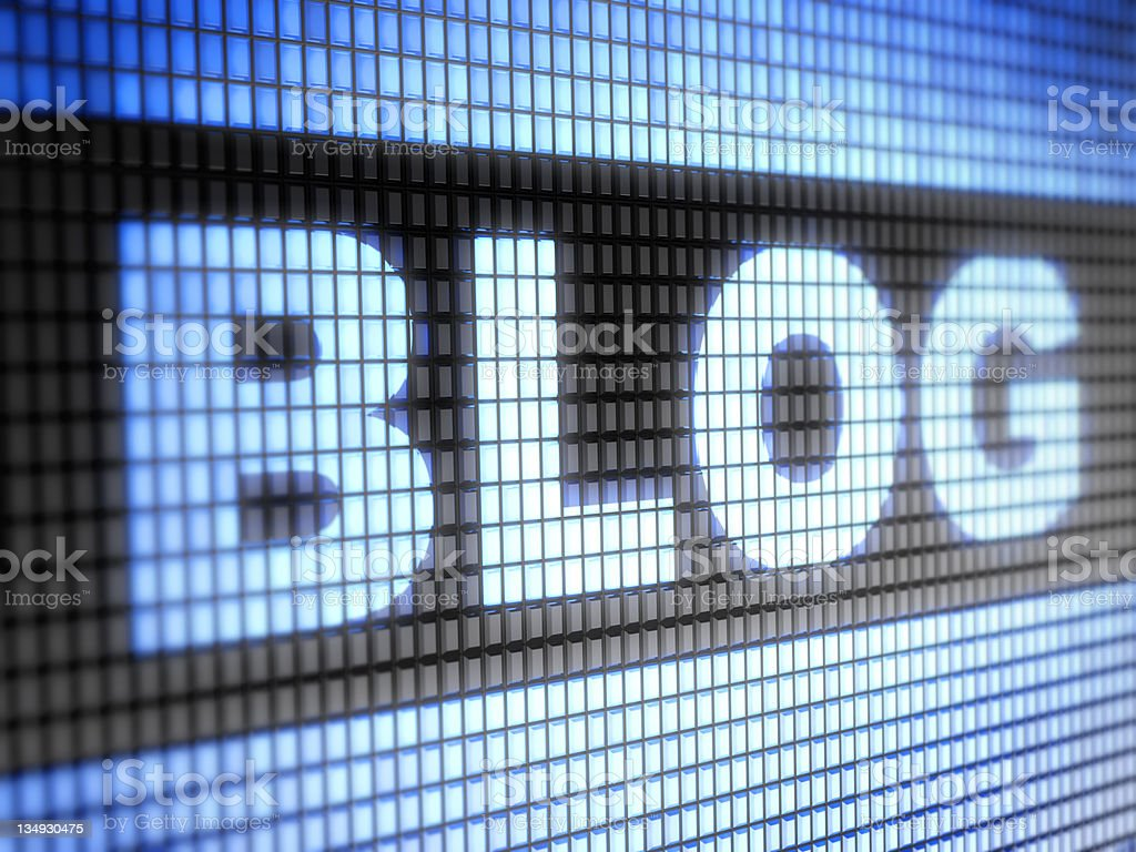 LED grid lit up displaying the word BLOG  royalty-free stock photo