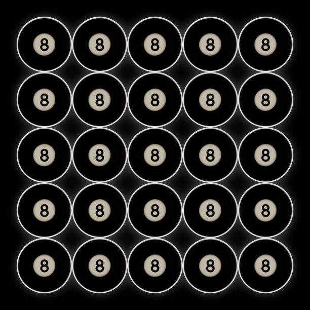 grid of 20 black number 8 pool balls on a black background stock photo