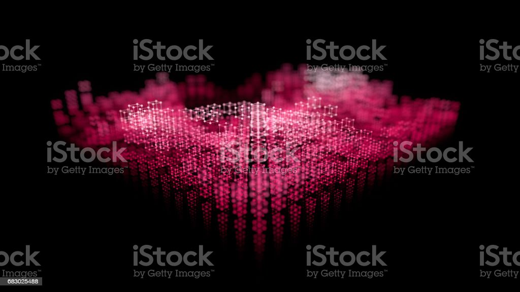Grid of bright atom array shapes, motion blur. Abstract 3d rendering background. stock photo