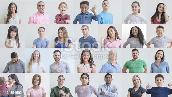 671270528istockphoto Grid of portraits featuring smiling ethnically diverse people of various ages 1154851592