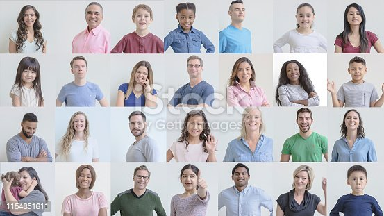 671270528istockphoto Grid of portraits featuring smiling ethnically diverse people of various ages 1154851611