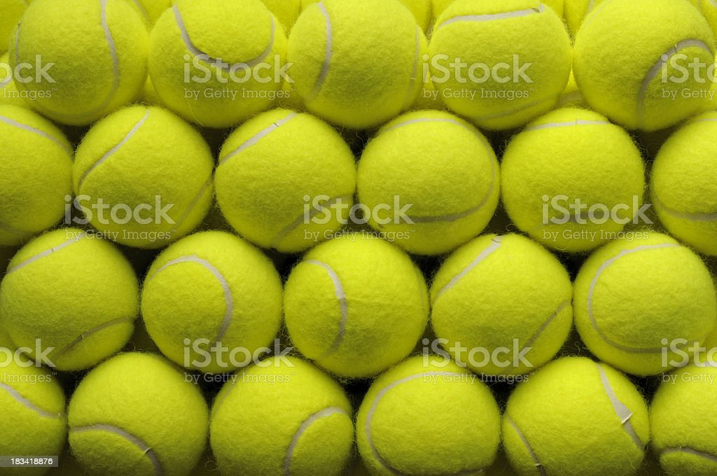 Grid of tennis balls royalty-free stock photo