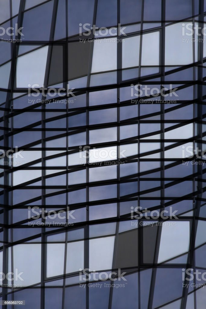 Grid Structure Reworked Photo Of Glass Walls Reflecting Blue