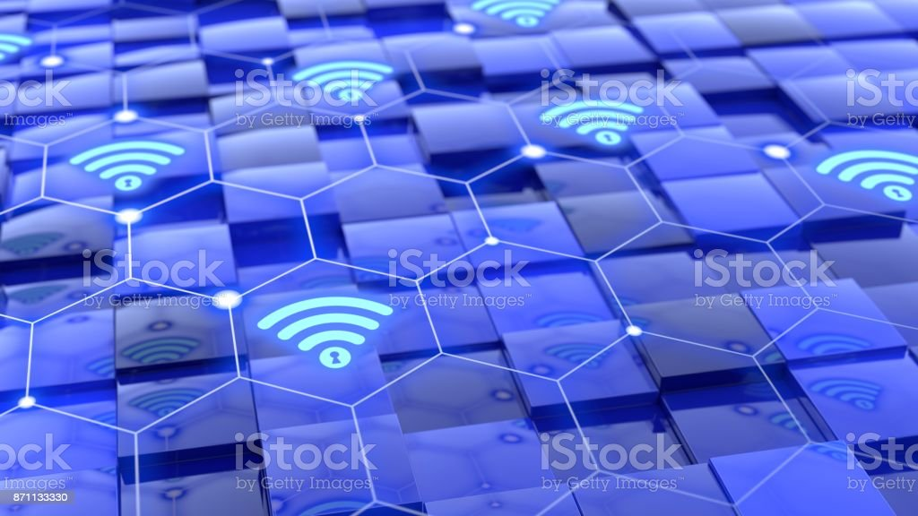 Grid with wifi network floating above blue cubes with different height stock photo