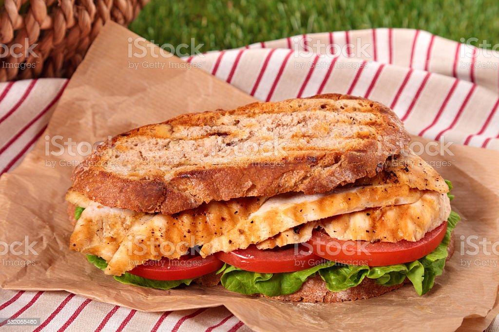 Griddle chicken salad sandwich close up stock photo