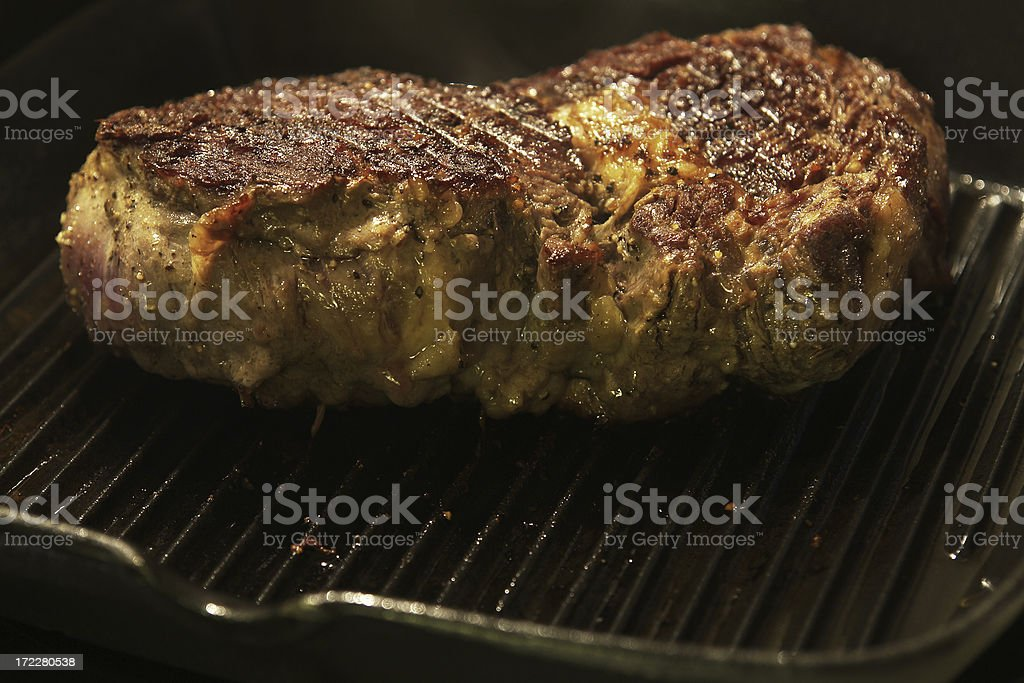 Griddle & Meat royalty-free stock photo