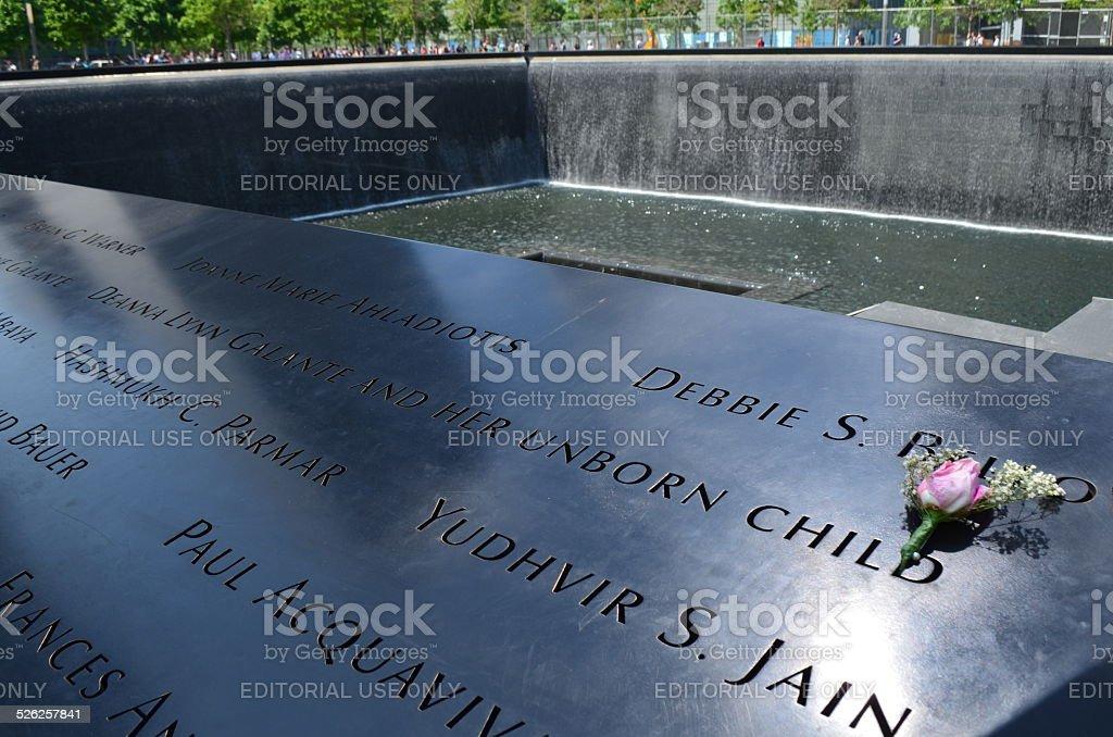 Grief: Flowers - Ground Zero (Memorial), New York City stock photo