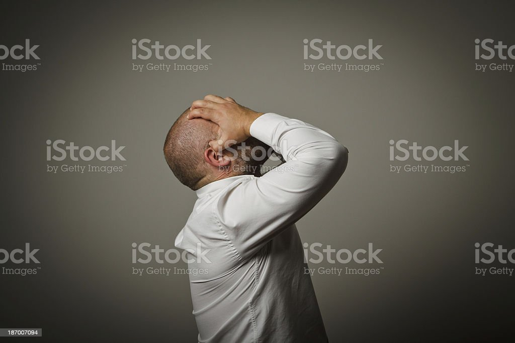 Grief. Man in white. royalty-free stock photo
